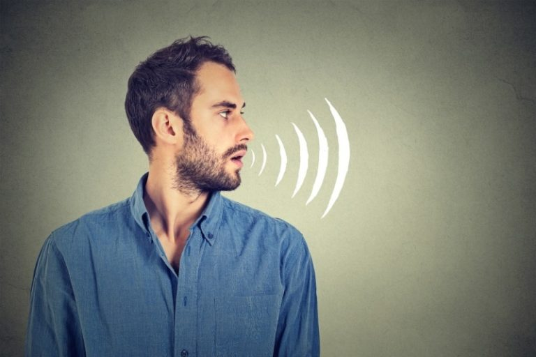Man producing sounds during voice training