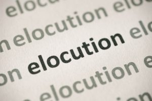 Close up of the word ELOCUTION
